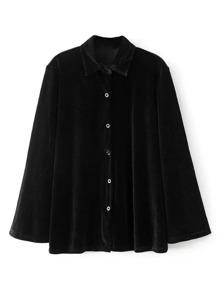 Tailored Button Up Velvet Blouse