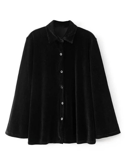 Tailored Button Up Velvet Blouse