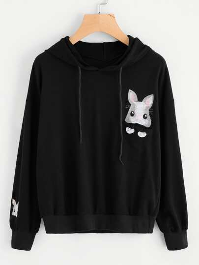 Rabbit Embroidered Hoodie