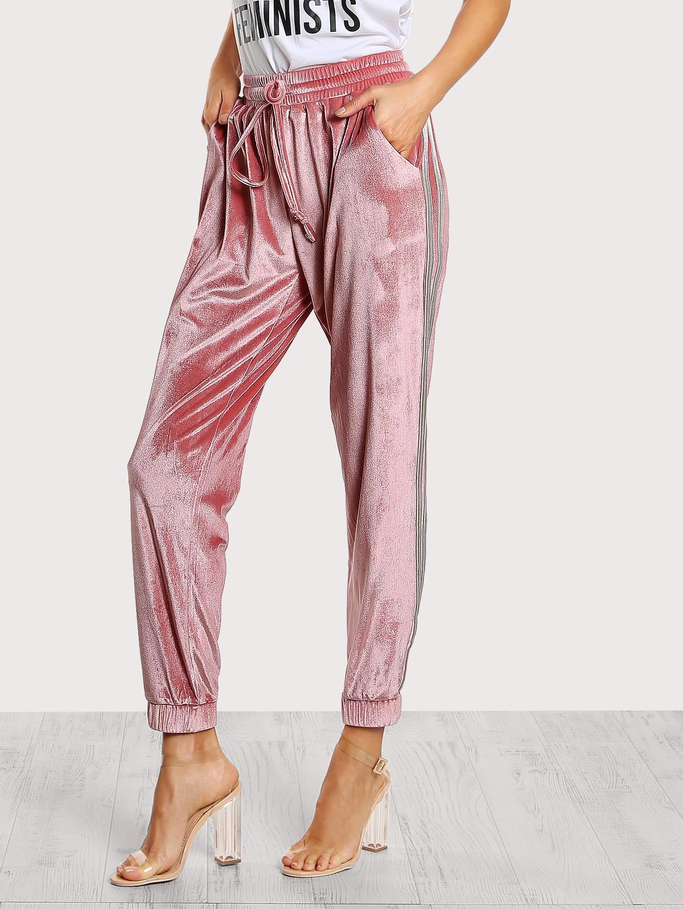 Shirred Waist Velvet Sweatpants shirred waist zip back fit
