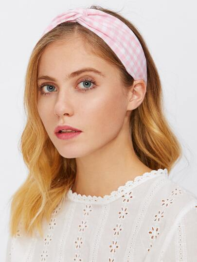 Gingham Twist Headband 2pcs