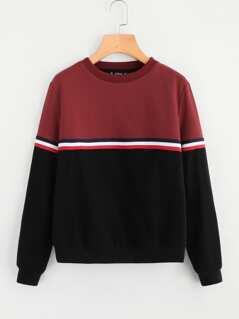 Striped Tape Detail Two Tone Sweatshirt