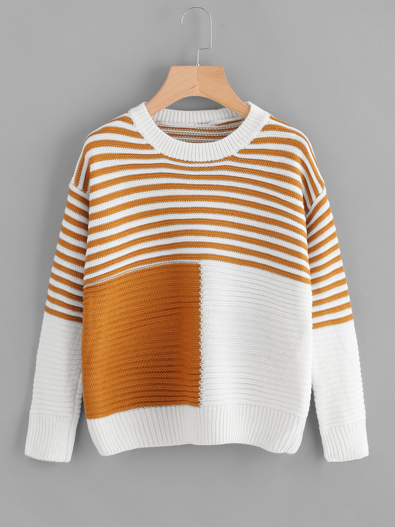 Contrast Panel Striped Jumper