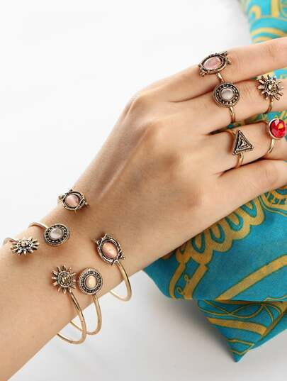 Multi Shaped Cuff Bracelet & Ring Set