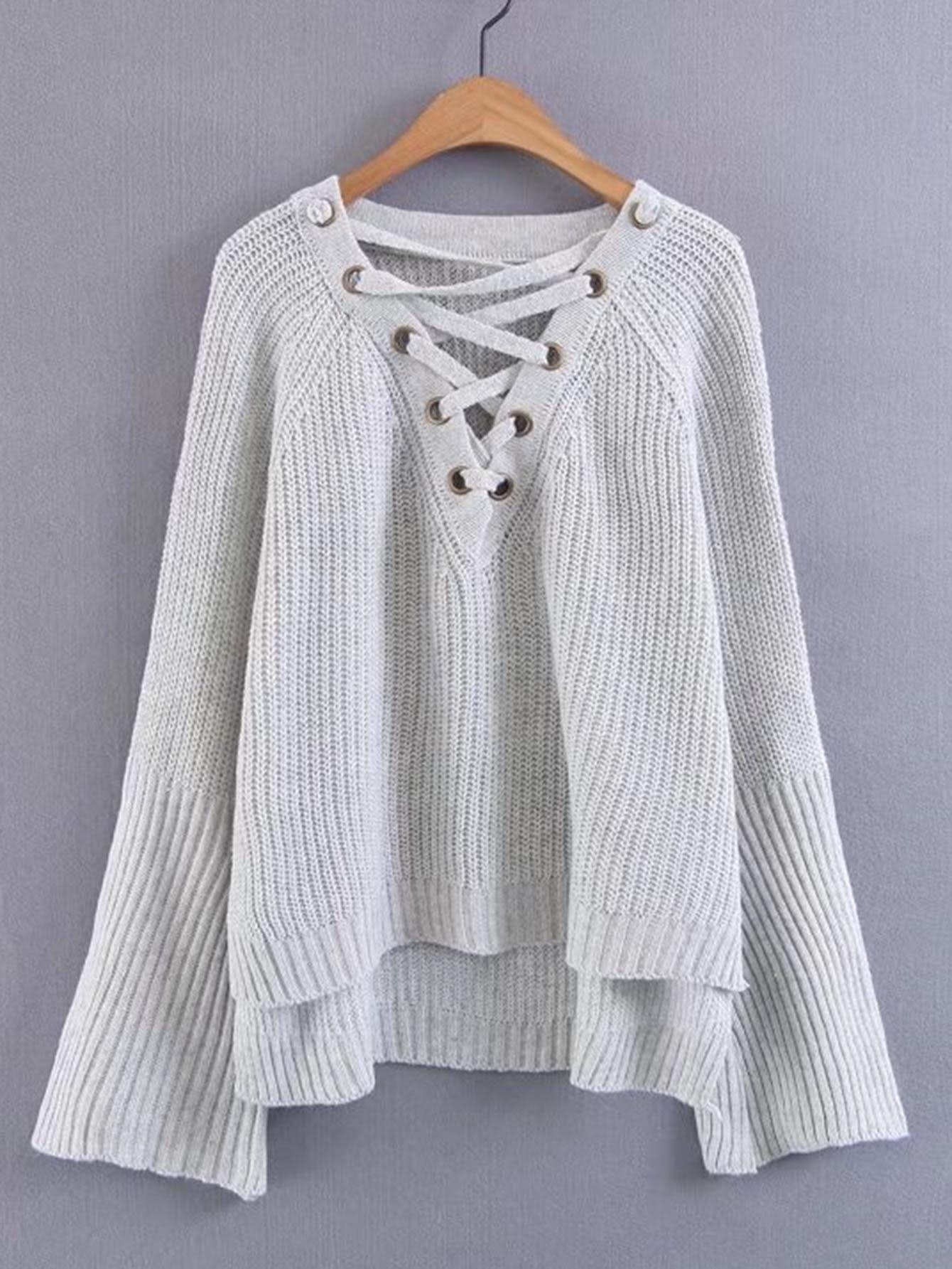 Lace Up V Neck Dip Hem Knitwear sweater170901205
