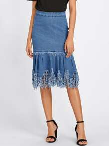 Distressed Fringe Hem Denim Skirt
