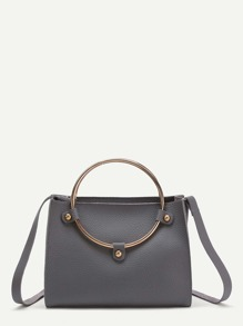 PU Crossbody Bag With Ring Handle
