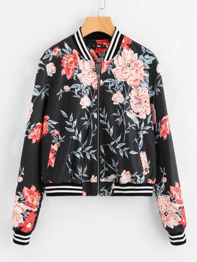 Striped Trim Botanical Bomber Jacket