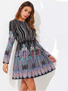 Ornate Print Smock Dress