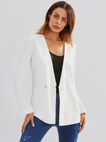 Scallop Neck Welt Pocket Front Tailored Blazer