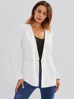 Scallop Neck Welt Pocket Front Tailored Blazer