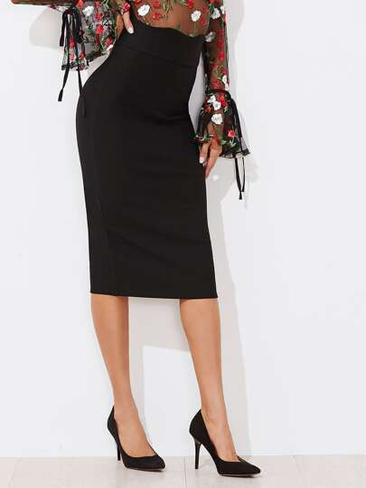 Scallop Trim High Waist Skirt