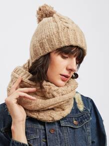 Écharpe & Bonnet avec pompon tricoté