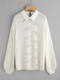 Pearl Beading Collar Loose Knit Front Jumper