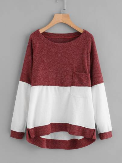 Color Block Dip Hem Sweatshirt