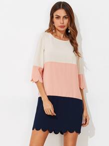 Cut And Sew Scalloped Dress