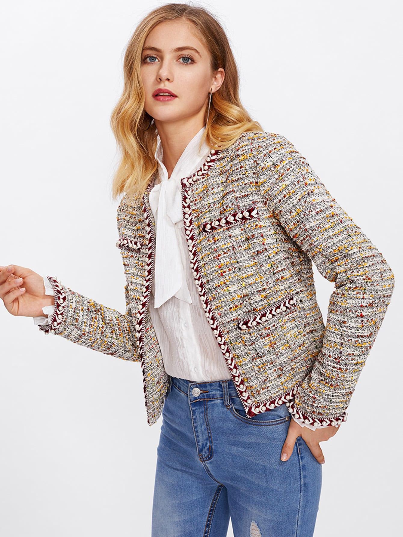 Pearl Beading Braided Tape Trim Tweed Blazer frayed trim open front tweed blazer