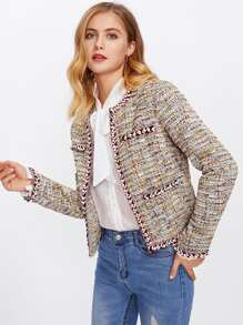 Pearl Beading Braided Tape Trim Tweed Blazer