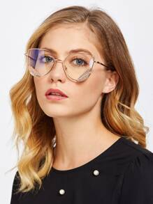 Metal Frame Clear Lens Cat Eye Glasses