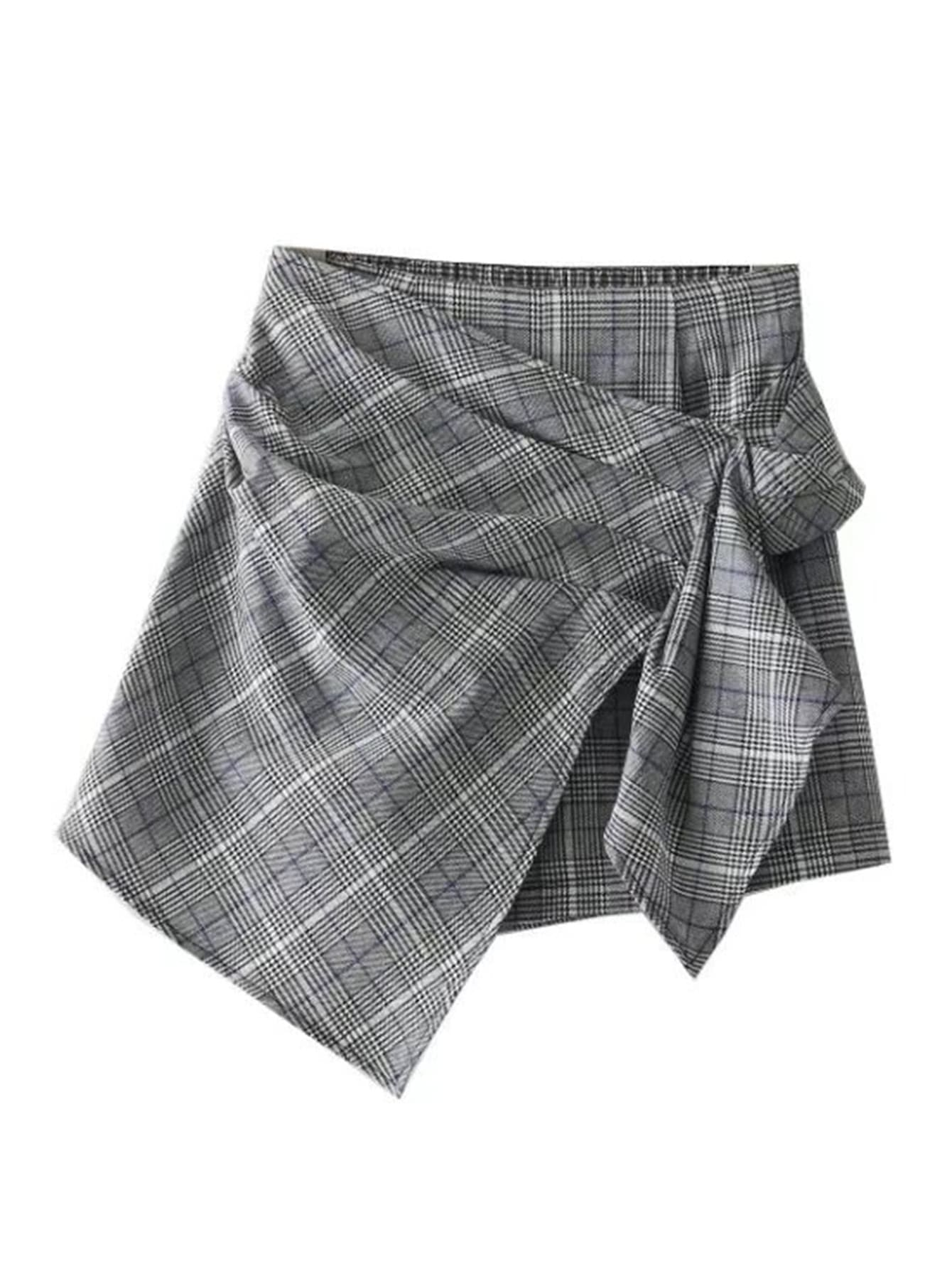 Image of Asymmetrical Wrap Plaid Skort