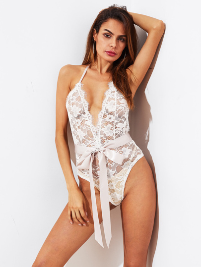 Self Tie Open Back Lace Teddy