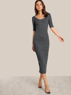 Quarter Sleeve Bodycon Dress CHARCOAL