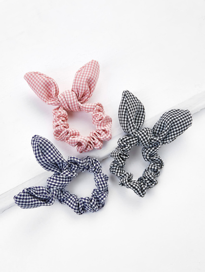 Knotted Bow Plaid Hair Tie 3pcs