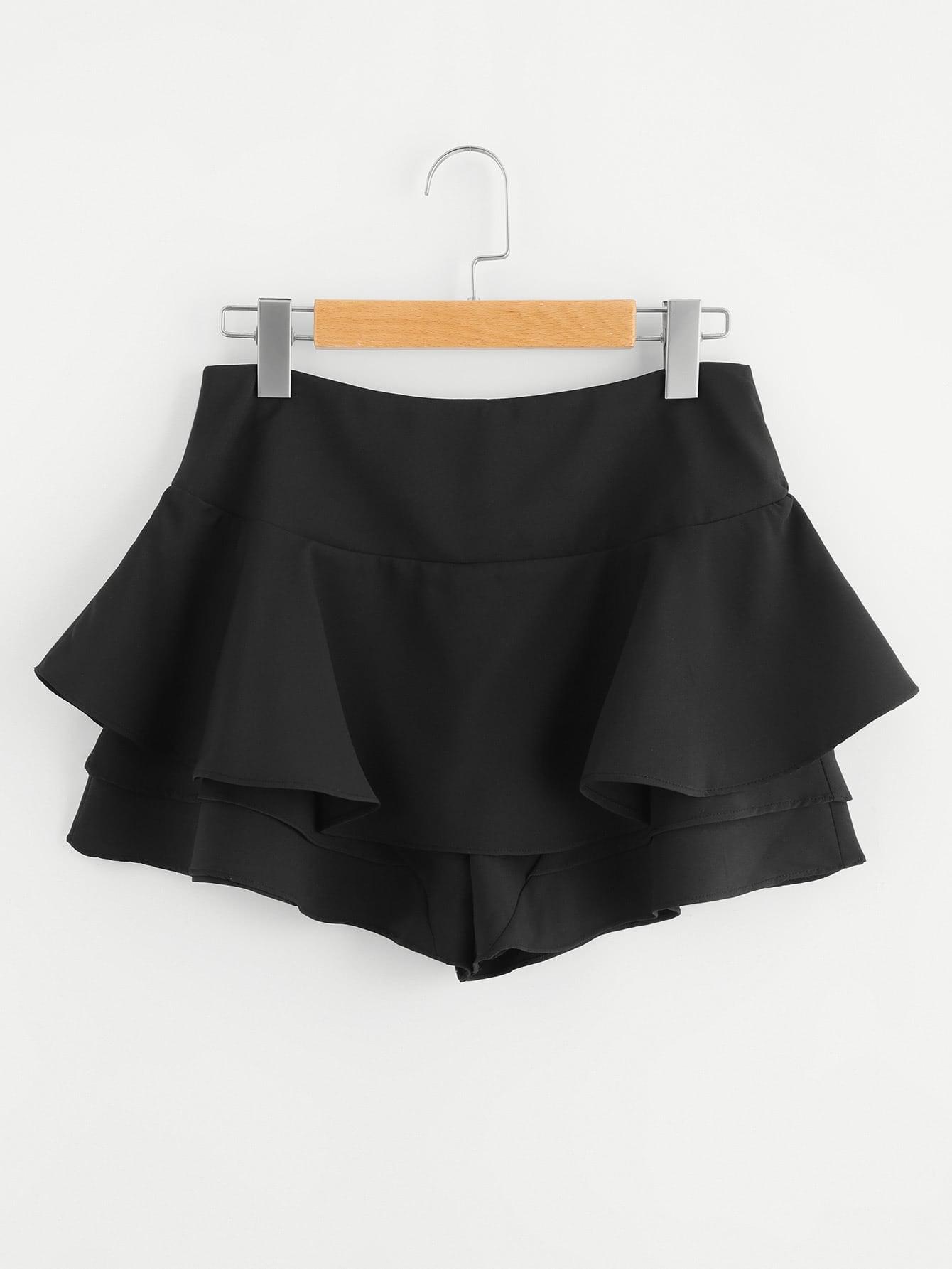 Flounce Trim Drop Waist Shorts drop shoulder flounce trim sleeve sweatshirt