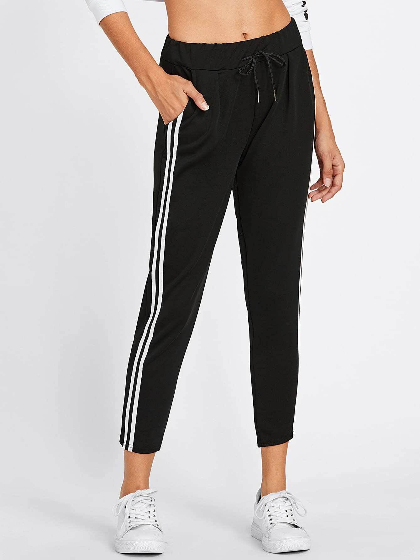 Striped Side Drawstring Crop Pants