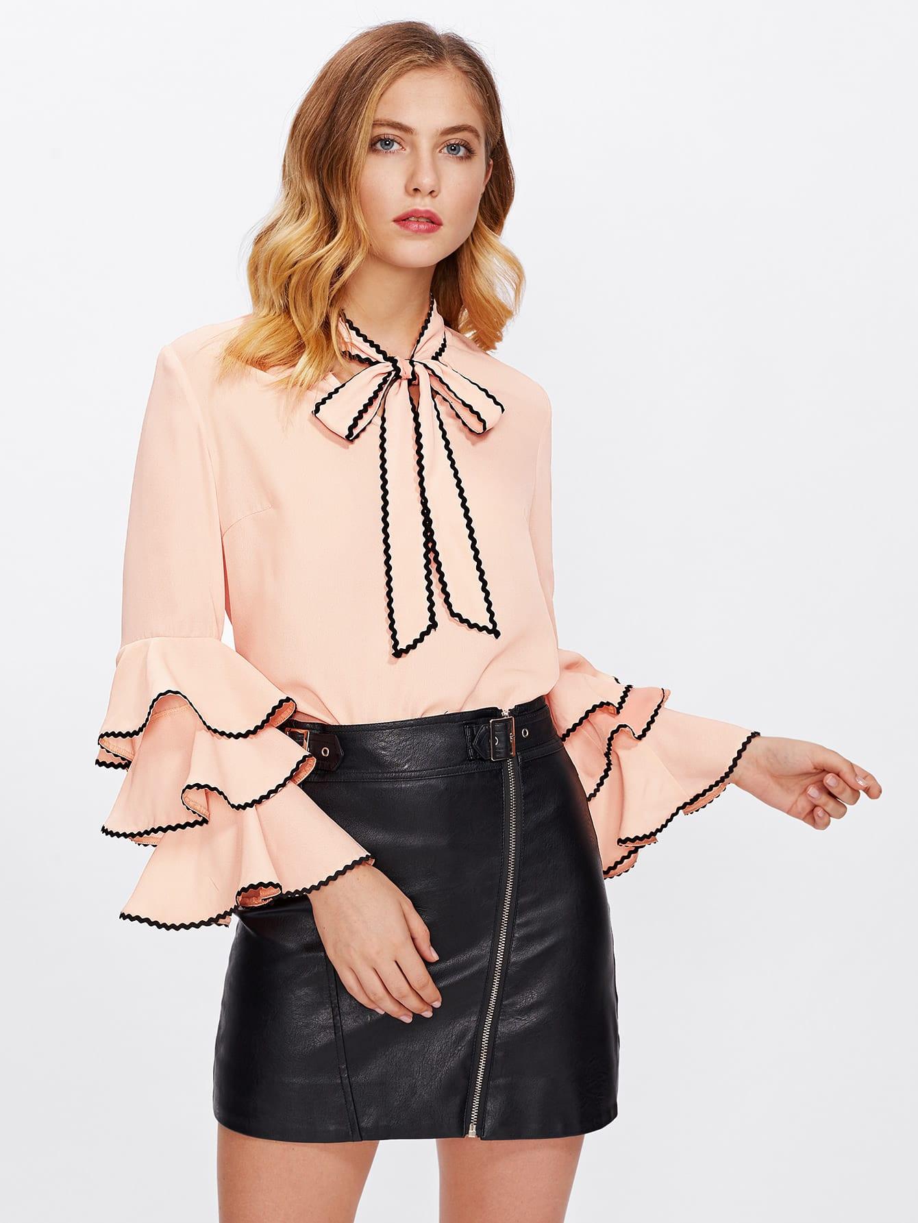 Bow Neck Wave Lace Trim Layered Sleeve Blouse v neck lace trim velvet blouse