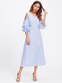 Open Shoulder Dual V Neck Lantern Sleeve Pinstripe Dress