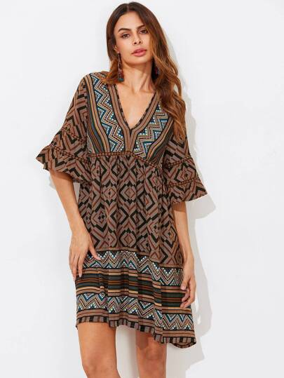 Dot Lace Insert Trumpet Sleeve Tribal Print Dress