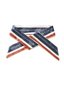 Striped Print Velvet Skinny Scarf