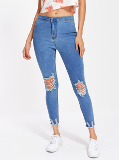 Raw Cut Hem Shredded Jeans