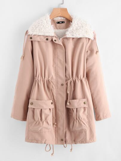 Fleece Lined Pocket Front Drawstring Parka Coat