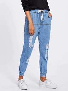 Elastic Hem Ripped Jeans