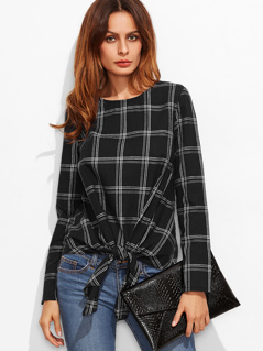 Knot Front Grid Top