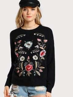 Floral Stitched Pullover Sweater BLACK