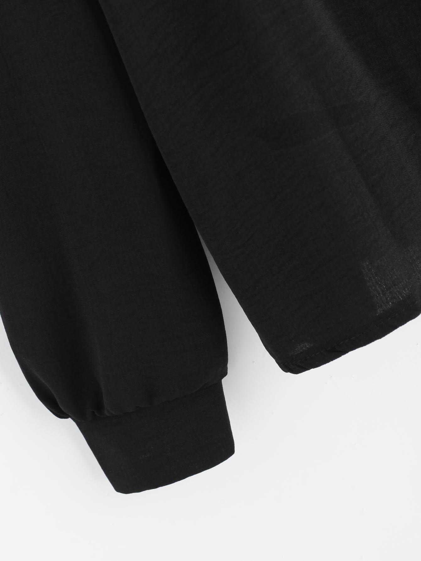 Mesh Panel Crochet Appliques Asymmetric Cold Shoulder Blouse