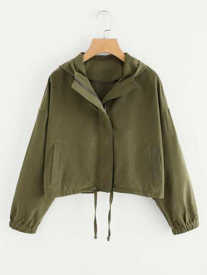 Drop Shoulder Drawstring Hem Hooded Jacket
