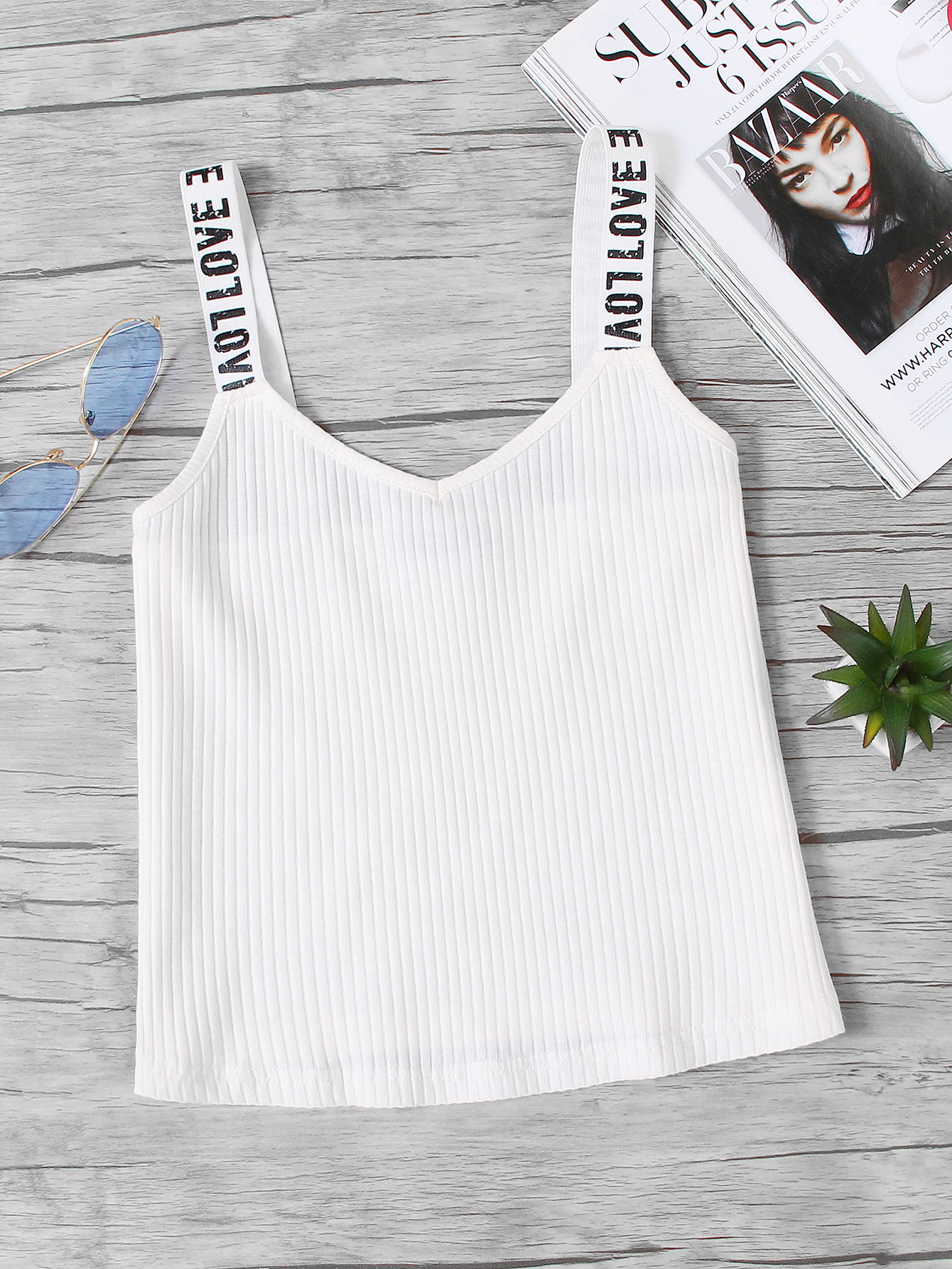 Rib Knit Printed Thick Strap Cami Top vest170930702