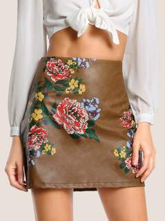 Floral Print Faux Leather Skirt CAMEL