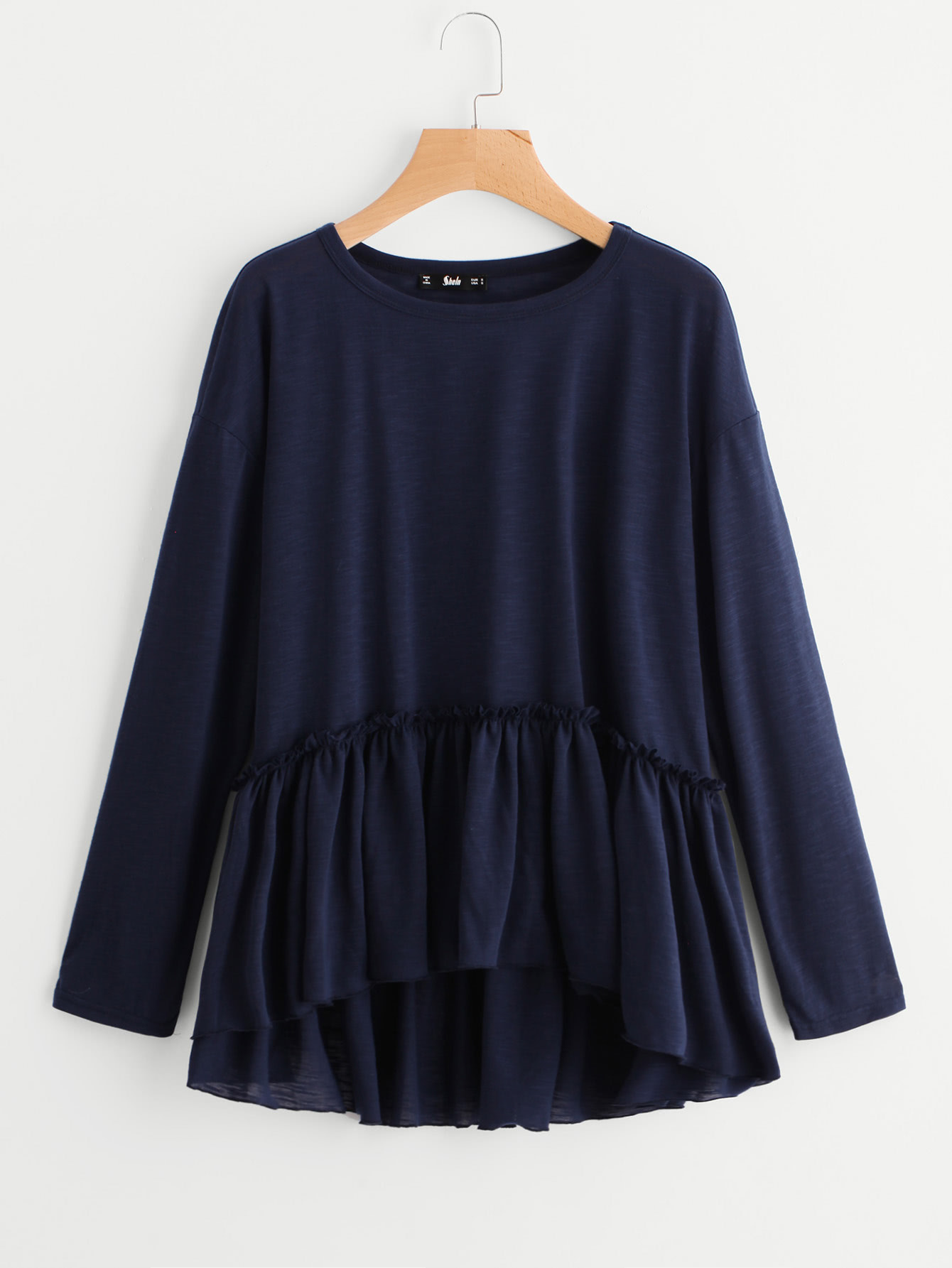 Frill Detail Drop Shoulder Smock Tee drop shoulder grommet tie detail sweatshirt