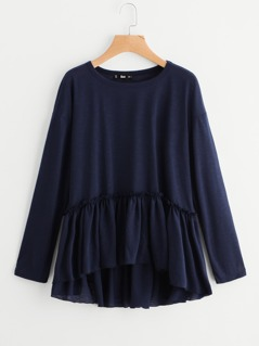 Frill Detail Drop Shoulder Smock Tee
