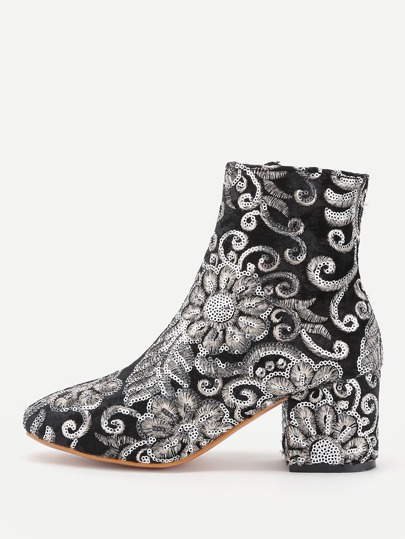 Sequin Flower Decorated Velvet Ankle Boots