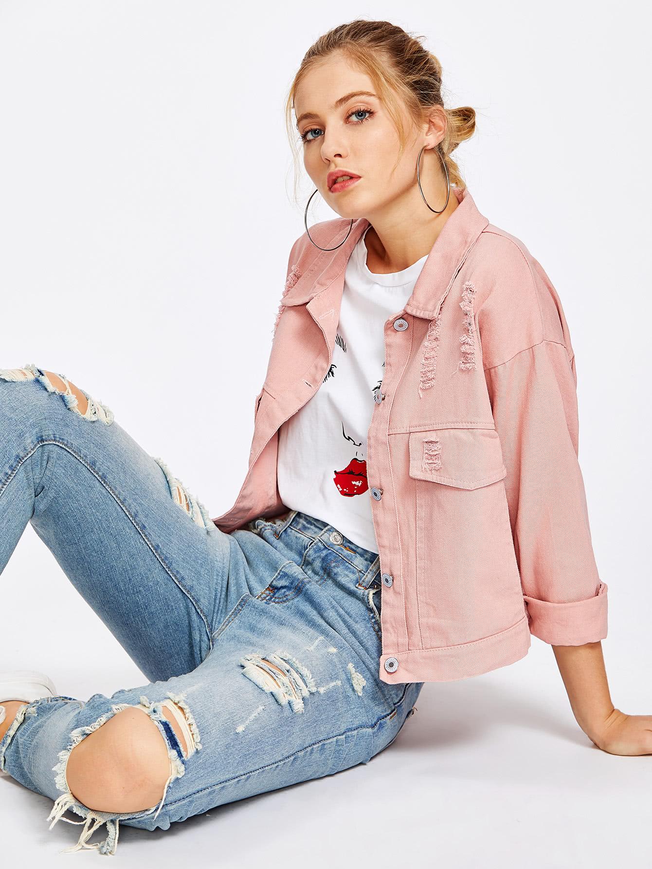 Single Breasted Ripped Denim Jacket цена и фото