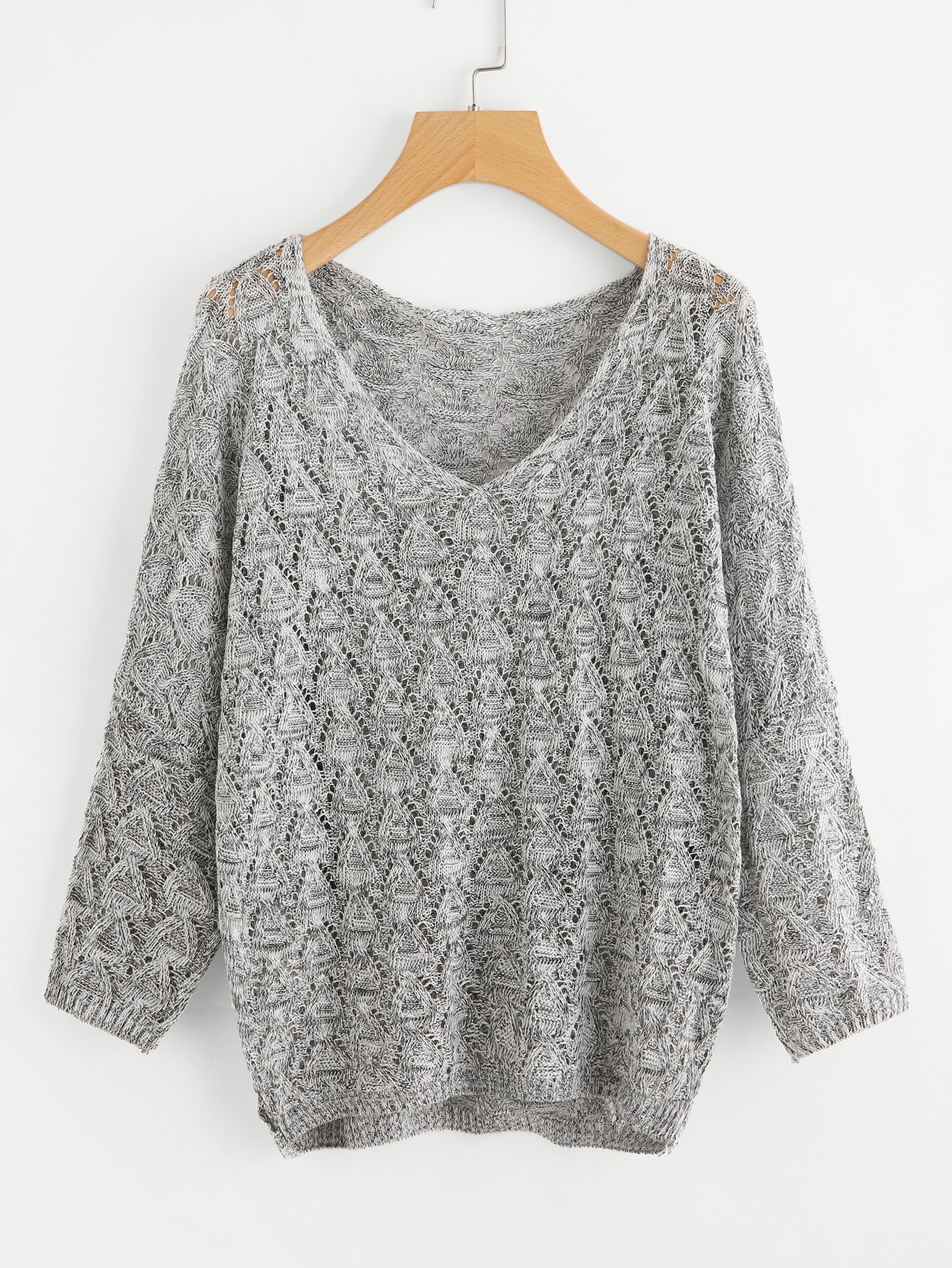 V Neckline Open Knit Sweater open knit long sweater