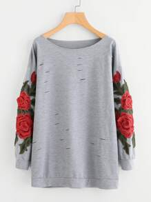 3D Embroidered Appliques Rips Marled Pullover