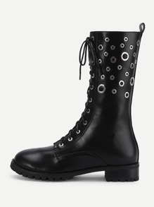 Eyelet Calf Length PU Boots