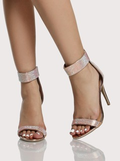Crystal Band Ankle Heels ROSE GOLD